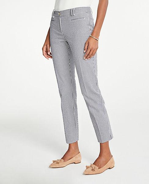 The Petite Crop Pant In Seersucker - Curvy Fit