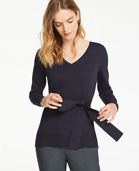 Petite Belted Tunic Sweater