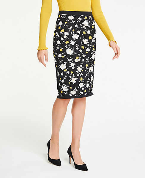 Petite Floral Sweater Pencil Skirt