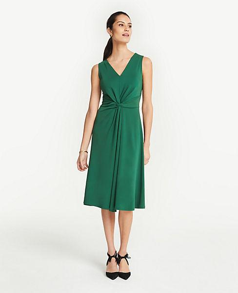 Petite Matte Jersey Knot Front Midi Dress