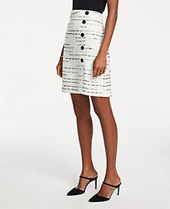 b50195443e Tweed Side Button A-Line Skirt