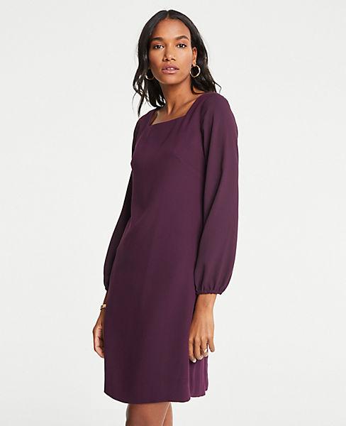 Petite Sheer Sleeve Shift Dress