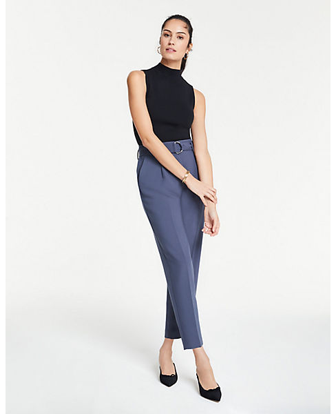 Petite Belted Pleated Ankle Pants