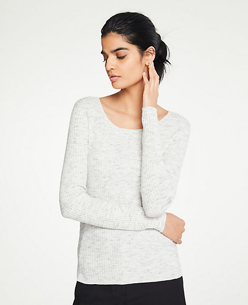 Petite Flecked Ribbed Sweater