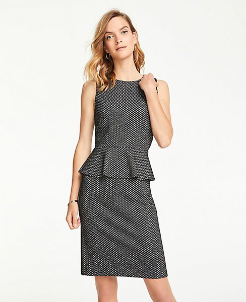 Petite Herringbone Knit Peplum Sheath Dress