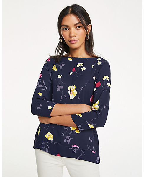 Petite Floral Tipped Mixed Media Top