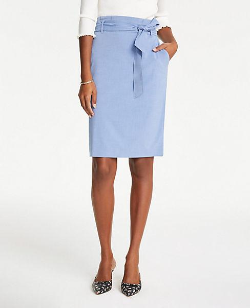 Petite Tie Waist Pencil Skirt