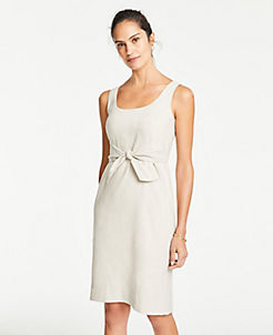 9d00a452439 Linen Blend Tie Front Sheath Dress