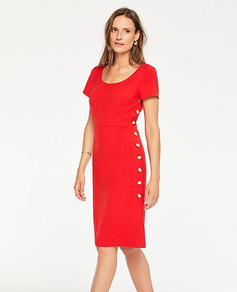 73beaaeebc Doubleweave Side Button Sheath Dress | Ann Taylor