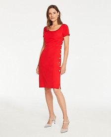 d8e0abeec3 Image 3 of 3 - Doubleweave Side Button Sheath Dress