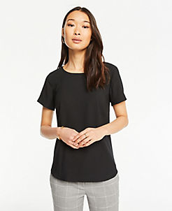 da146e4e2e186e Black Short Sleeve Tops for Women | ANN TAYLOR