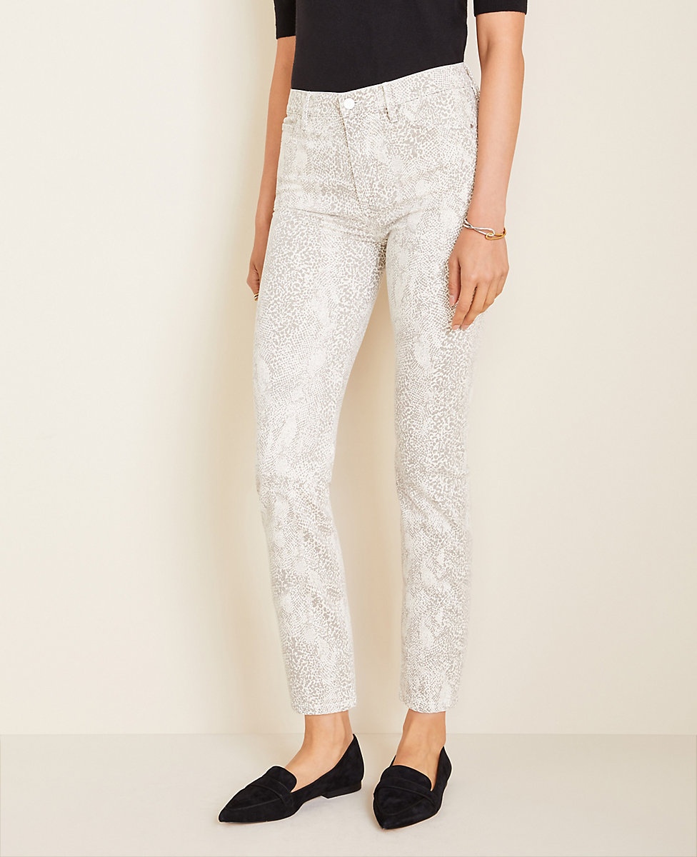 choose genuine variety design hot-selling genuine High Rise Straight Ankle Jeans in Snake Print | Ann Taylor