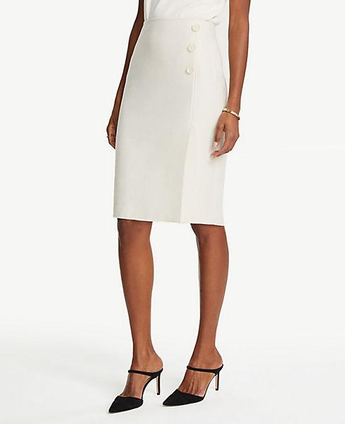 2dcda21472 Petite Textured Button Front Pencil Skirt | Ann Taylor