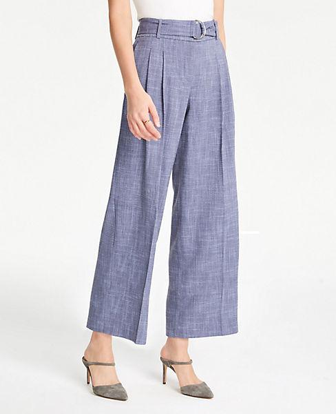 Petite Belted Fluid Wide Leg Crop Pants