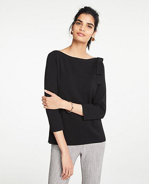 Petite Shoulder Bow Boatneck Sweater