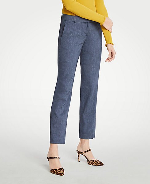 The Petite Straight Pant In Linen Blend