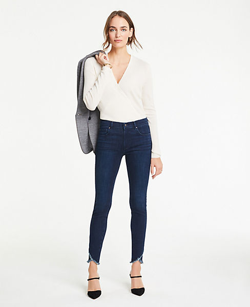 Petite Tulip Hem Performance Stretch Skinny Ankle Jeans
