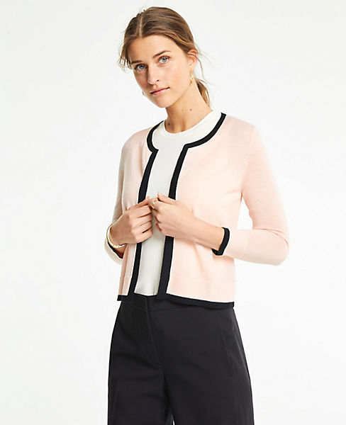 Petite Tipped Cropped Open Cardigan