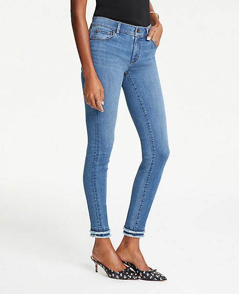 Petite Frayed Performance Skinny Ankle Jeans in Bright Mid Indigo Wash
