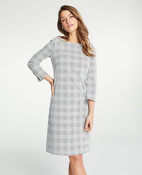 Petite Plaid Boatneck Shift Dress