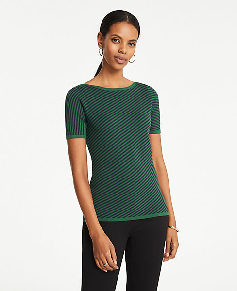 Petite Diagonal Striped Boatneck Sweater