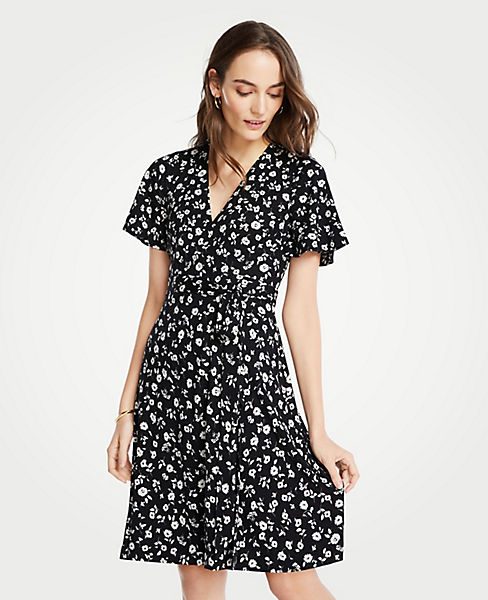 Floral Flutter Sleeve Wrap Dress | Ann Taylor