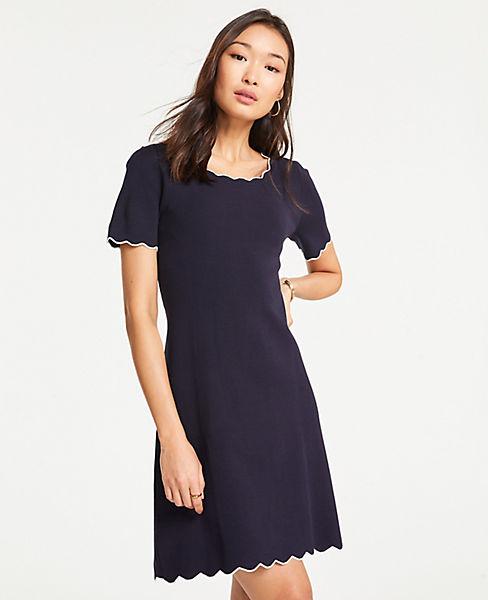 Petite Scalloped Sweater Dress