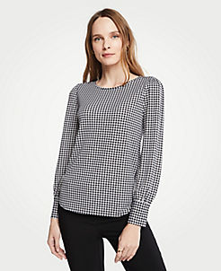 376161166a8de Gingham Cuffed Boatneck Top