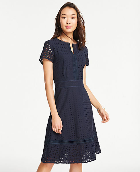 4db503991dfc Petite Mixed Eyelet Flare Dress | Ann Taylor