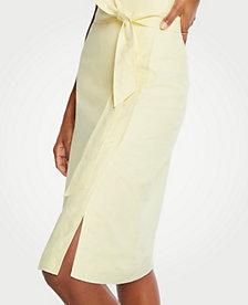 5456a2454f8f Image 3 of 4 - Petite Linen Tie Waist Wrap Skirt