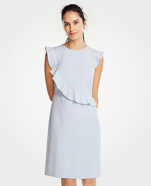 Petite Doubleweave Flutter Sleeve Sheath Dress