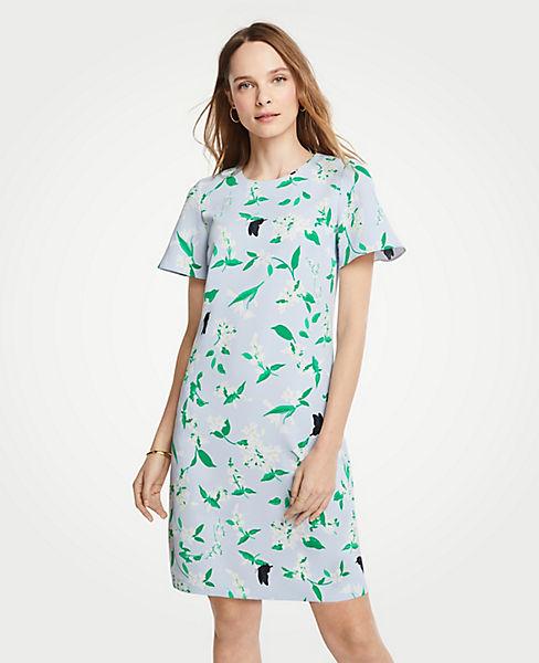 Petite Floral Flutter Sleeve T-Shirt Dress