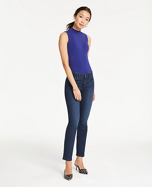 Petite Straight Crop Jeans in Classic Mid Indigo Wash