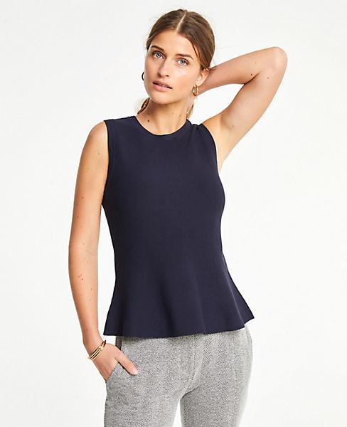 Petite Sleeveless Peplum Sweater