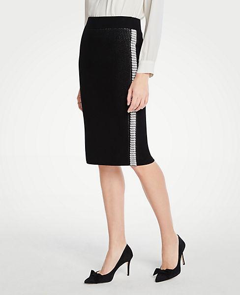 Petite Side Stripe Sweater Pencil Skirt