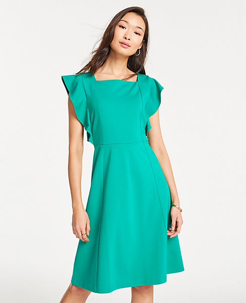 Petite Ponte Flutter Sleeve Flare Dress