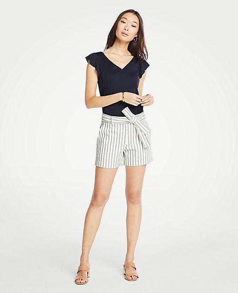Petite Stripe Marina Tie Waist Shorts