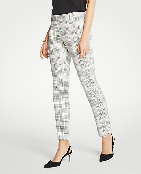 The Petite Cotton Crop Pant In Variegated Plaid