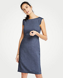 c1f6b22db8 The Petite Cap-Sleeve Sheath Dress in Linen Blend