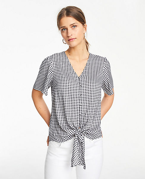 Petite Checked Knot Front Top