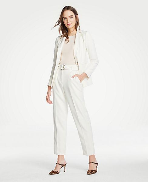 Petite Belted Pleated Pants in Doubleweave