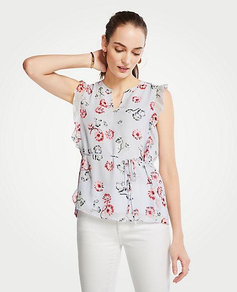 9a97754a8e9236 Petite Floral Tie Waist Flutter Top | Ann Taylor