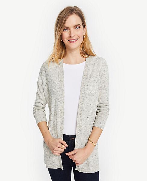 Petite Melange Linen Blend Open Cardigan
