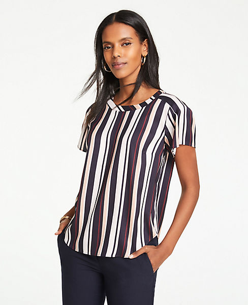 Petite Striped Pleated Shoulder Tee