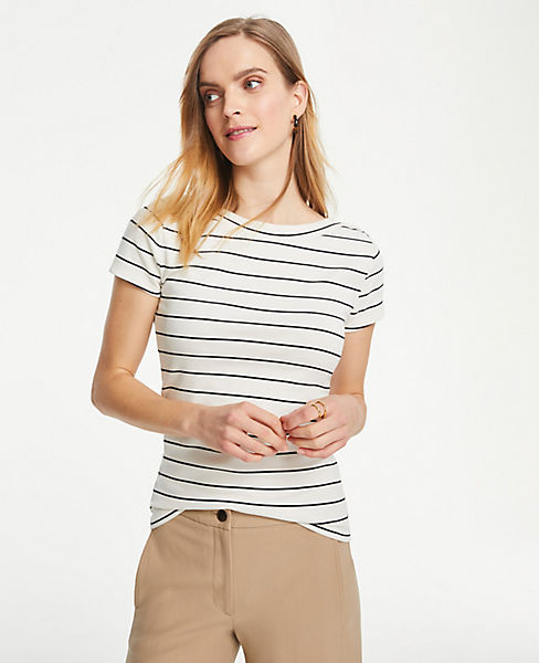 9a553fef47 Striped Boatneck Luxe Tee | Ann Taylor