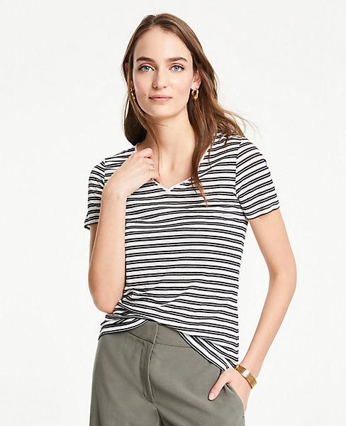 2d39432a0f55 Stripe Linen V-Neck Tee   Ann Taylor