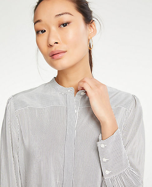 36127eea0 Petite Shirred Button Down Blouse | Ann Taylor