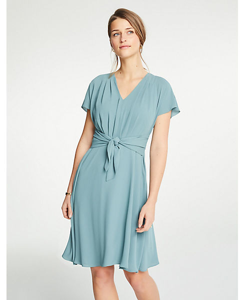 Petite V-Neck Tie Front Flare Dress