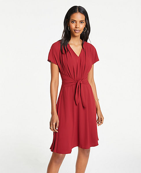 Petite Pleated Tie Front Flare Dress