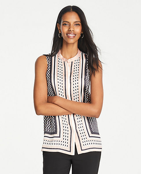6b7c247d0 Geo Striped Sleeveless Button Down Top | Ann Taylor